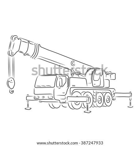 Crane Plan View Cad Drawing Sketch Coloring Page