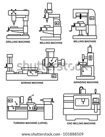 Illustration Set Machine Tools Stock Illustration