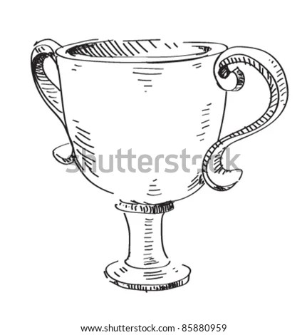 Prize Trophy Icon Hand Drawing Cartoon Stock Vector