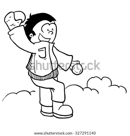 Coloring Page Outline Cartoon Boy Playing Stock Vector