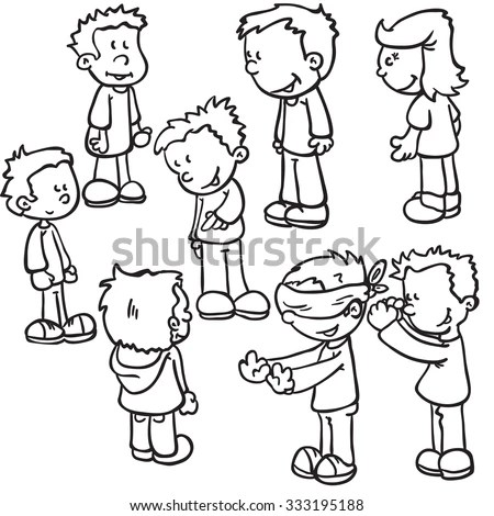 Hand Drawn Comic People Chatting Men Stock Vector