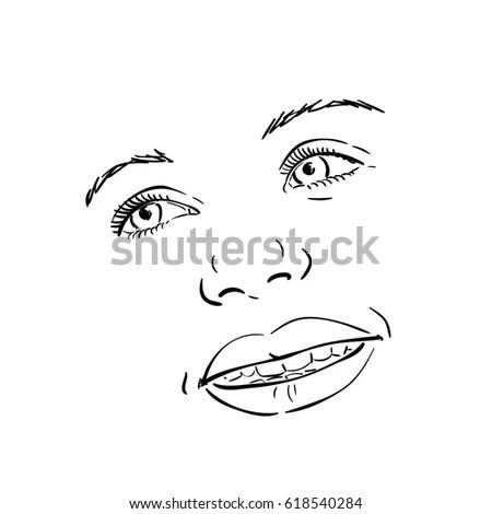 Set Hand Draw Human Eyes Comic Stock Vector 490513168