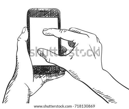 Sketch Hand Holding Smartphone Finger Touching Stock