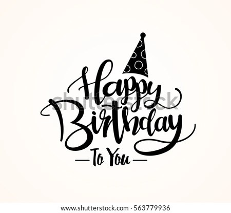 Happy Birthday Greeting Card Lettering Design Stock Vector