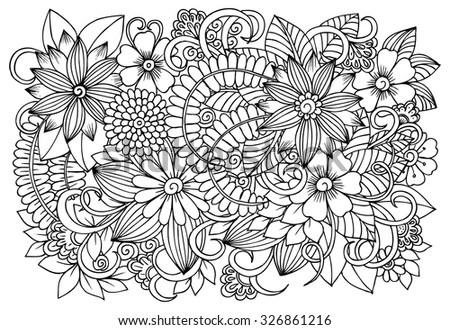 Floral Pattern Vector Doodle Flowers Black Stock Vector