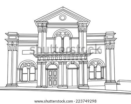 Architectural Classic House Facade Corinthian Columns