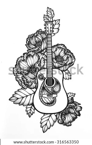 Guitar Illustration Flowers Leaves Vintage Style Stock