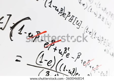 Complex Math Formulas On Whiteboard Mathematics Stock