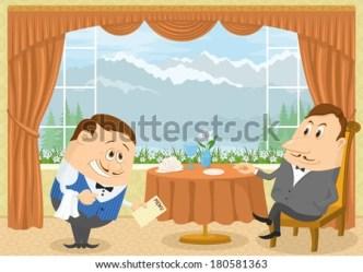 inside cartoon restaurant diner doomstead vector sitting