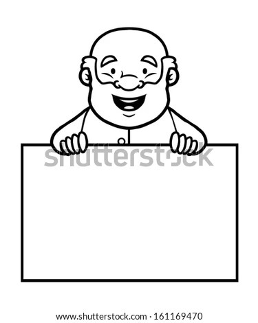 Cartoon Vector Outline Illustration Proud Employee Stock