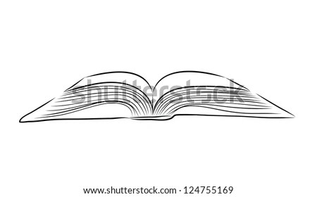 Open Book Hand Draw Stock Vector (Royalty Free) 124755169
