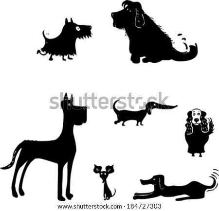 Set Funny Dog Silhouettes Stock Vector 184727303