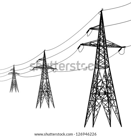 Silhouette High Voltage Power Lines Vector Stock Vector