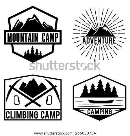set of vintage labels mountain adventure and camping