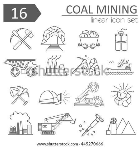 Coal Mining Icon Set Thin Line Stock Vector 445270666