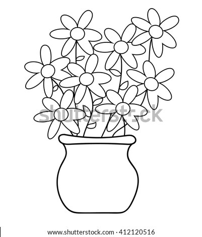 Flower Pot Coloring Page Stock Vector (Royalty Free