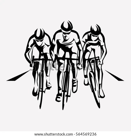 Cycling Race Stylized Symbol Outlined Cyclist Stock Vector