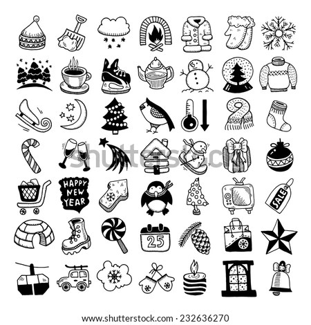 Black White Sketch Hand Drawing Winter Stock Vector