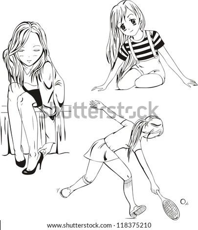 Set Anime Girls Black White Vector Stock Vector 118375210