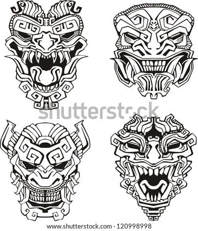 Sketch Demon Warrior Art Aztec Coloring Pages