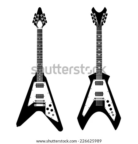 Monochrome Black White Silhouette Electric Guitar Stock
