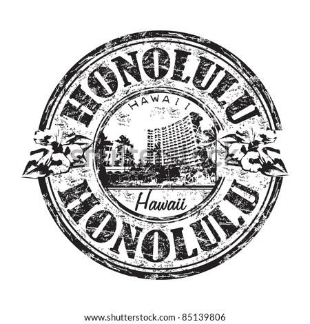 Black Grunge Rubber Stamp Name Honolulu Stock Vector