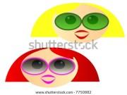 cartoon girls heads yellow red