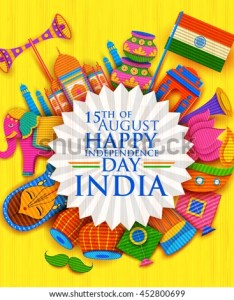 Illustration of happy independence day banner in indian kitsch paper style also stock vector rh shutterstock