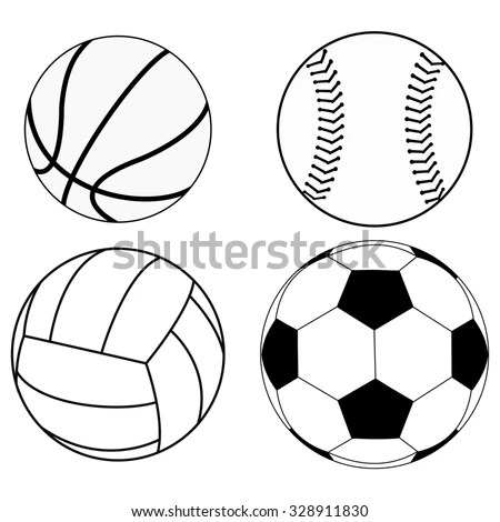 Balls Set Basketball Ball Baseball Ball Stock Vector