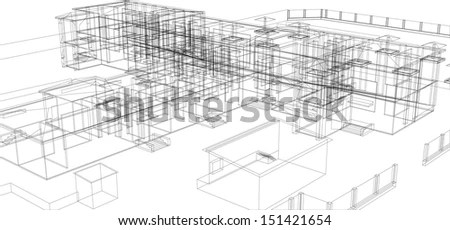 Blueprint Plan School Building Third View Stock Vector