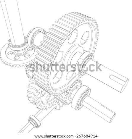 Wire-frame reducer consisting of gears, bearings and