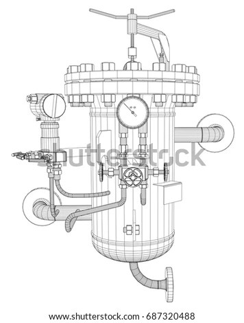 Black White Drawing Bank Vault Door Stock Illustration