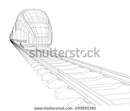 Abstract Polygonal Highspeed Passenger Train Traveling