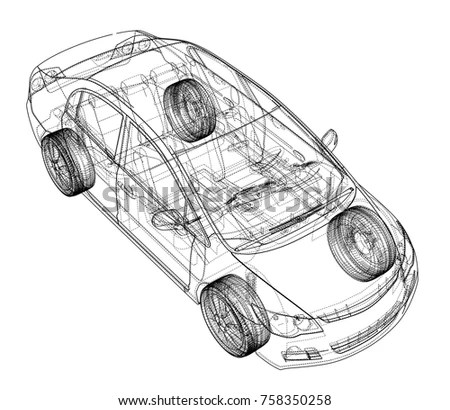 Cartoon Racing Car Toy Hand Drawing Stock Illustration