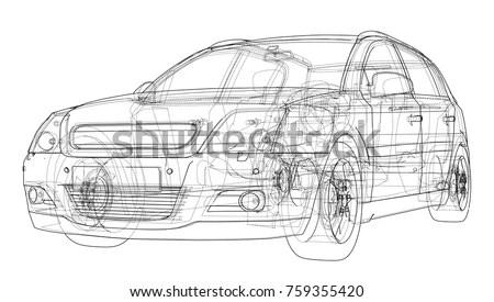 Car Sketch Vector Rendering 3 D Wireframe Stock Vector