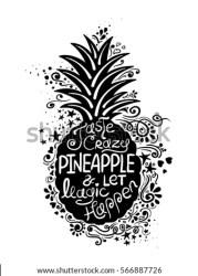 pineapple silhouette vector pattern magic let crazy taste drawn hand shutterstock poster