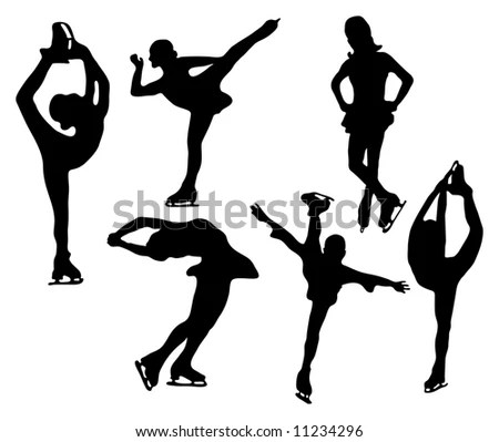 Series Figure Skater Silhouettes Various Positions Stock