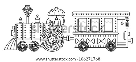 Red Steam Locomotive Wagons Vector Illustration Stock