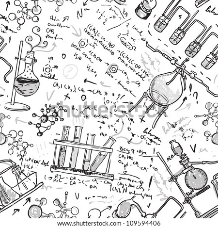 Old Chemistry Laboratory Seamless Pattern Vector Stock