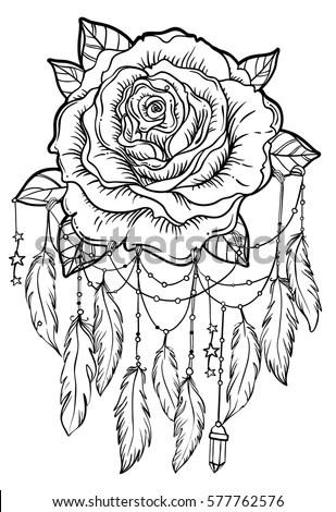 Dream Catcher Rose Flower Detailed Vector Vector de