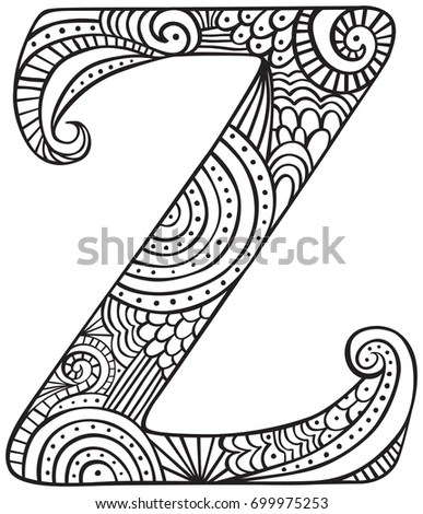 Hand Drawn Capital Letter Z Black Stock Vector 699975253
