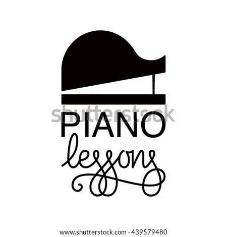 Vector Illustration Logo Piano Lessons Concerts Stock