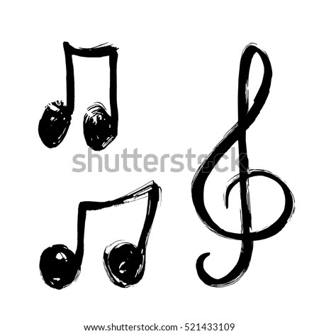 Set Music Notes Icon music Note Background hand Stock