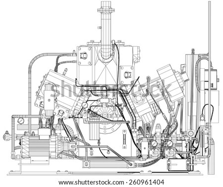 V8 Car Engine Cad Cartoon White Stock Illustration