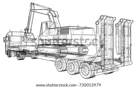 Low Bed Truck Trailer Excavator Wireframe Stock Vector