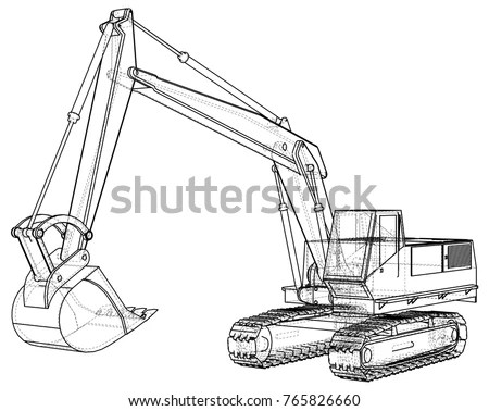 Excavator Abstract Drawing Wireframe Eps10 Format Stock