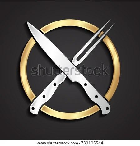 3d Crossed Fork Knife Gold Logo Stock Vector 465402347