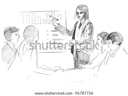 Pencil Drawing Young Manager Making Presentation Stock