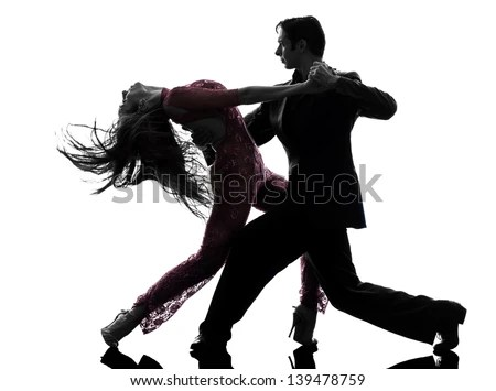 One Caucasian Couple Man Woman Ballroom Stock Photo