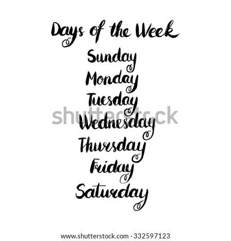 Handwritten Days Week Monday Tuesday Wednesday เวกเตอร์